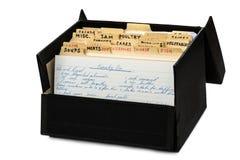 在白色隔绝的老食谱箱子开放 图库摄影