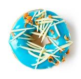 在白色隔绝的蓝色多福饼,从上面 库存图片