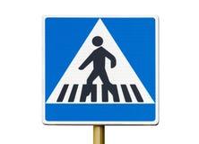 在白色隔绝的行人交叉路标志 免版税库存图片