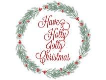 在白色隔绝的贺卡的圣诞节花圈手拉的例证 库存例证