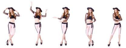 在白色隔绝的跳舞红头发人妇女西班牙斗牛士 免版税库存照片