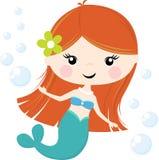 在白色隔绝的逗人喜爱的小的美人鱼例证 免版税图库摄影