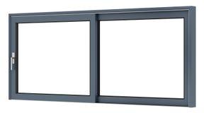 在白色隔绝的金属窗口 免版税库存照片