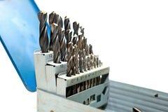在白色隔绝的钻子成套工具 免版税库存图片