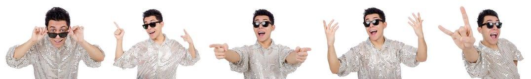 在白色隔绝的银色衬衣的年轻人 免版税库存照片