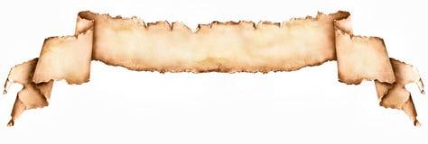 在白色隔绝的长的葡萄酒纸纸卷 免版税库存图片