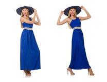 在白色隔绝的长的蓝色礼服的美丽的妇女 图库摄影