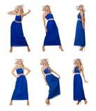 在白色隔绝的长的蓝色礼服的美丽的妇女 免版税库存照片