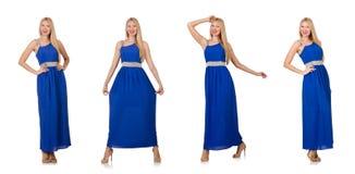 在白色隔绝的长的蓝色礼服的美丽的妇女 库存图片