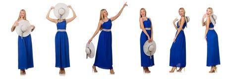 在白色隔绝的长的蓝色礼服的美丽的妇女 免版税库存图片