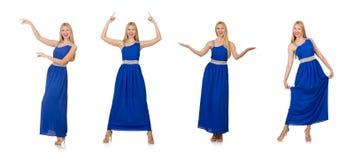 在白色隔绝的长的蓝色礼服的美丽的妇女 免版税图库摄影