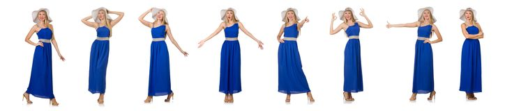 在白色隔绝的长的蓝色礼服的美丽的妇女 库存照片