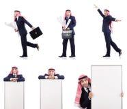 在白色隔绝的阿拉伯商人 免版税库存图片