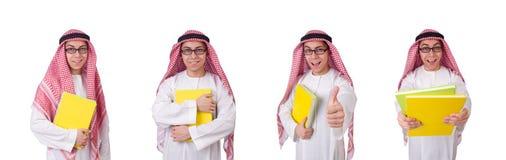 在白色隔绝的阿拉伯学生 库存照片