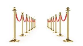 在白色隔绝的障碍绳索 金篱芭 豪华, VIP概念 事件的设备 3d例证 向量例证