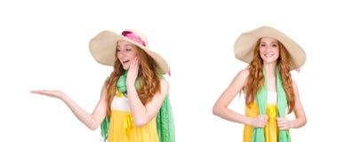 在白色隔绝的黄色夏天礼服的少妇 免版税库存照片