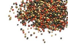 在白色隔绝的黑,红色和白胡椒五谷 香料 食物 免版税库存图片
