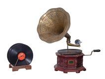 在白色隔绝的19世纪留声机留声机和唱片包括裁减路线 库存图片