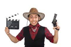 在白色隔绝的年轻牛仔 免版税图库摄影