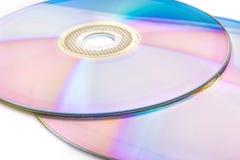 在白色隔绝的CD的dvd 库存图片