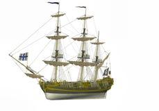 在白色隔绝的Ilustration老海盗船 库存照片