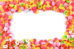 在白色隔绝的Ssorted胶粘的糖果 免版税图库摄影