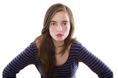 在白色隔绝的一个十几岁的女孩的画象 免版税库存照片