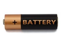 在白色隔绝的一个AA电池,与裁减路线 免版税库存照片