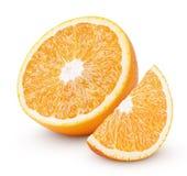 在白色隔绝的一半和切片橙色柑桔 免版税库存图片