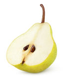 在白色隔绝的一半黄色梨果子 库存图片