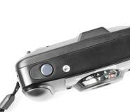 在白色隔绝的一台老影片塑料照相机 免版税图库摄影