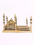 在白色背景隔绝的一张蓝色清真寺模型侧视图 库存图片