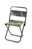 在白色隔绝的一把折叠的帆布椅子 库存图片