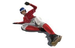 在白色隔绝的一白种人人棒球运动员赛跑 免版税库存照片