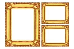 在白色隔绝的三个古色古香的金木制框架 免版税库存照片