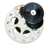 在白色隔绝的不同的35mm电影卷轴 图库摄影