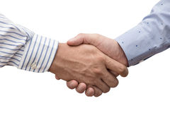 在白色隔绝的两个商人握手  免版税库存照片