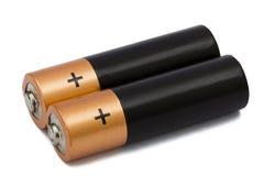 在白色隔绝的两个AA电池,与裁减路线 图库摄影