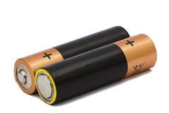 在白色隔绝的两个AA电池,与裁减路线 免版税库存图片