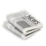 在白色隔绝的两张新闻纸 免版税图库摄影