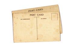在白色隔绝的两张老葡萄酒明信片 库存照片