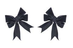 在白色隔绝的两把布料黑弓 免版税图库摄影