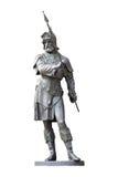 在白色隔绝的中世纪骑士雕象 库存照片