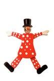在白色隔绝的串的木小丑玩具 库存照片