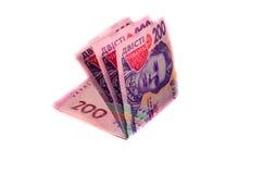 在白色隔绝的乌克兰钞票 库存图片