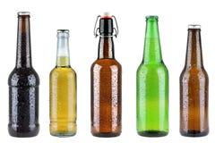 在白色隔绝的五个不同啤酒瓶 免版税库存图片