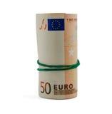 在白色隔绝的五十张欧洲钞票卷  免版税库存照片
