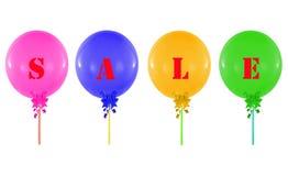 在白色隔绝的五颜六色的小组气球,销售m的概念 库存照片
