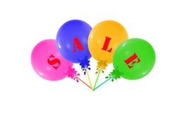 在白色隔绝的五颜六色的小组气球,销售m的概念 免版税库存图片