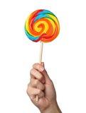 在白色隔绝的五颜六色的螺旋棒棒糖 免版税图库摄影